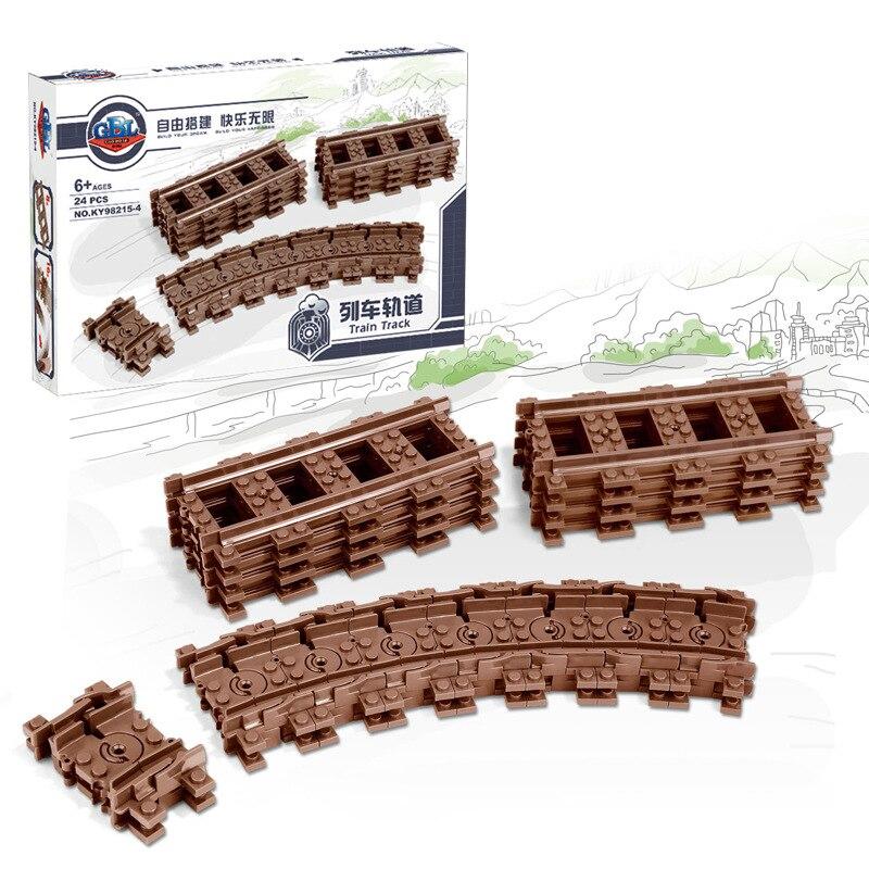 Image 3 - Ausini 柔軟な市互換のため列車レールトラック鉄道モデルセットフォークされたストレート湾曲したビルディングブロックレンガのおもちゃ    グループ上の おもちゃ