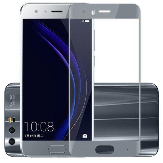 Tam kapak renk temperli cam için Huawei onur 9 onur 9 Lite Honor9 9 Lite ekran koruyucusu filmi siyah beyaz mavi gri