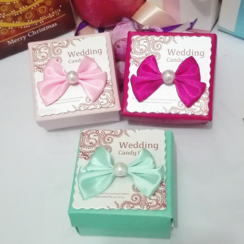 40Pcs/Lot Skyblue pink Square Wedding Candy Box with Bows For ...