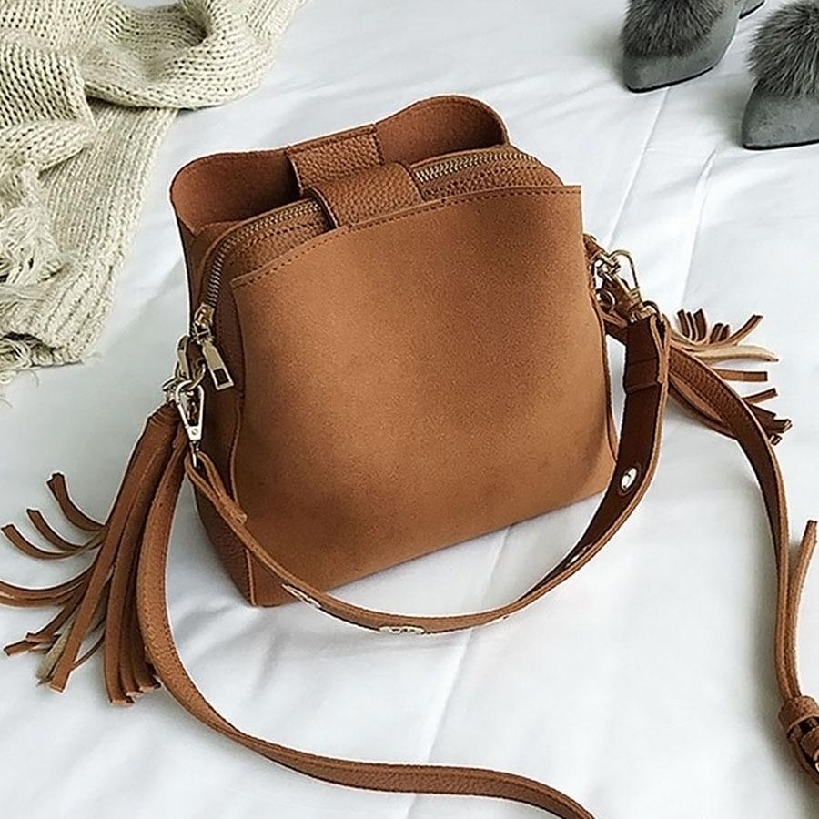 New Women Handbag Bucket Bag Vintage Tassel Fashion Scrub Shoulder Bags High Quality Retro Casual Messenger Bag Ladies Crossbags