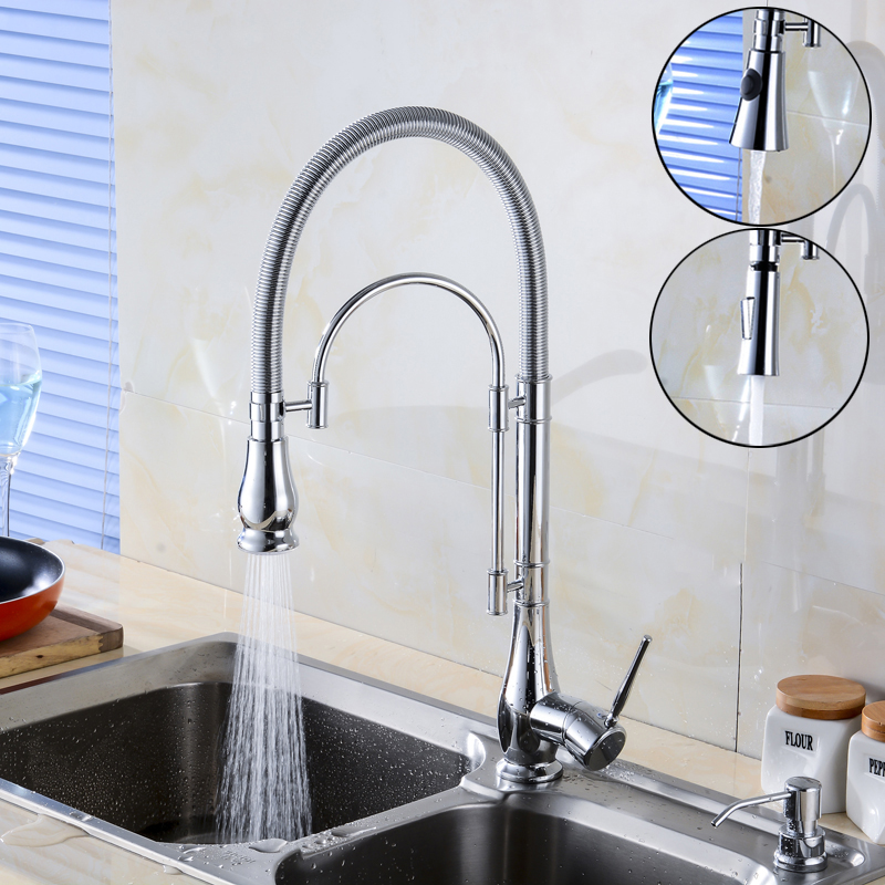 Chrome Brass Kitchen Faucet Single Lever Swivel Rotating Kitchen Mixer Tap with Hot and Cold Water micoe brass faucet single handle single hole kitchen faucet double nozzle water mixer chrome hot and cold water rotating faucet