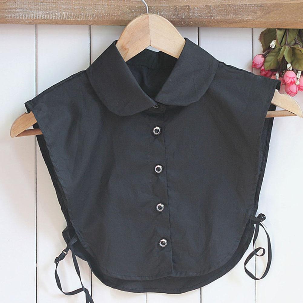 Detachable Women Shirt Fake Collar Cotton Solid Color Lapel False Blouse Top Sweater Neckwear Ladies Clothes Accessories KNG88