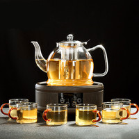 Glass Teapot Tea Set Home Heat Resistant Glass Kettle With Electric Ceramic Heater Tea Pot Cup Set