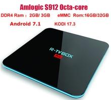 R-TV box Pro Amlogic S912 64 бит Octa core 3 г/16 г 2 г/16 г Android 7.1 TV Box Wi-Fi BT4.0 2.4 г/5.8 Г H.265 4 К media player Коди 17.3