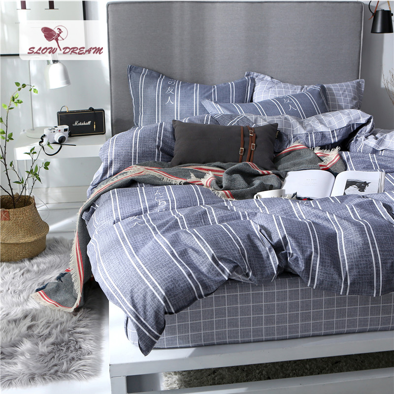 SlowDream Elastic Sheet With Rubber Duvet Cover Set 3/4PCS Pillowcase Simple Style Bed Cover Stripe Bedspread Home Bedding Set