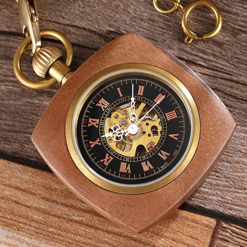 Relógio de Bolso Praça de Madeira Criatividade Mecânico Homens Mulheres Elegante Escultura Dial Oco Esqueleto Algarismos Romanos Relógios Steampunk