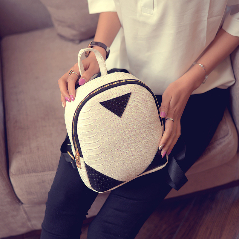 Free Shipping New 2017 Simple Girls PU Black Gray Pink White Mini Cheap Students Backpacks bags BB009