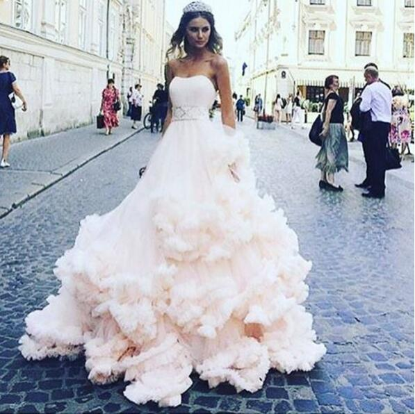 Vestido De Noiva Pale Pink Wedding Dresses 2017 Soft Tulle