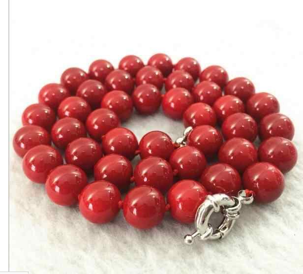 "silver real SHELL pearl necklace for women 18"" long designs red coral stone round beads 12mm jewelry necklace"