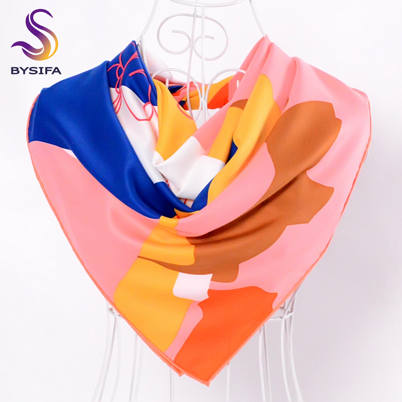 [BYSIFA] Ladies Pink Silk   Scarf   Shawl Fashion Accessories Twill Large Square   Scarves     Wraps   90*90cm Geometric Pattern   Scarves