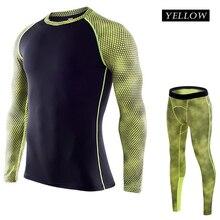 Комплект для бега Для Мужчин's Gym одежда эластичные компрессионные колготки спортивная одежда фитнес-тренировки спортивных костюмов 2 in1 Набор# M1712