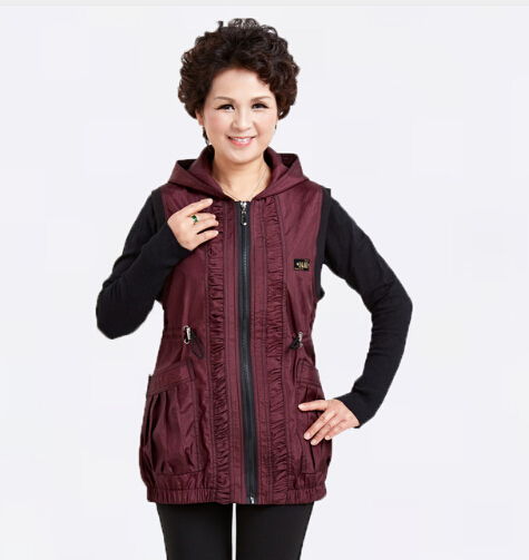 Spring Mothers Dark Purple Black Cotton Hooded Vest Coat Middle Aged Women Plus Sized Sleeveless Jackets Vintage Style Waistcoat