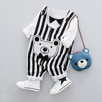 2017 Fashion Newborn Baby Clothes Long Sleeve Baby Boy T Shirt Stripe Overalls 2pcs Leisure Baby