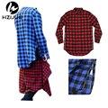 2017 Prolongado Long High Low Side Zipper Unisex Homem Camisa Dos Ganhos do Hip Hop Homens Streetwear camisas Xadrez Azul Vermelho