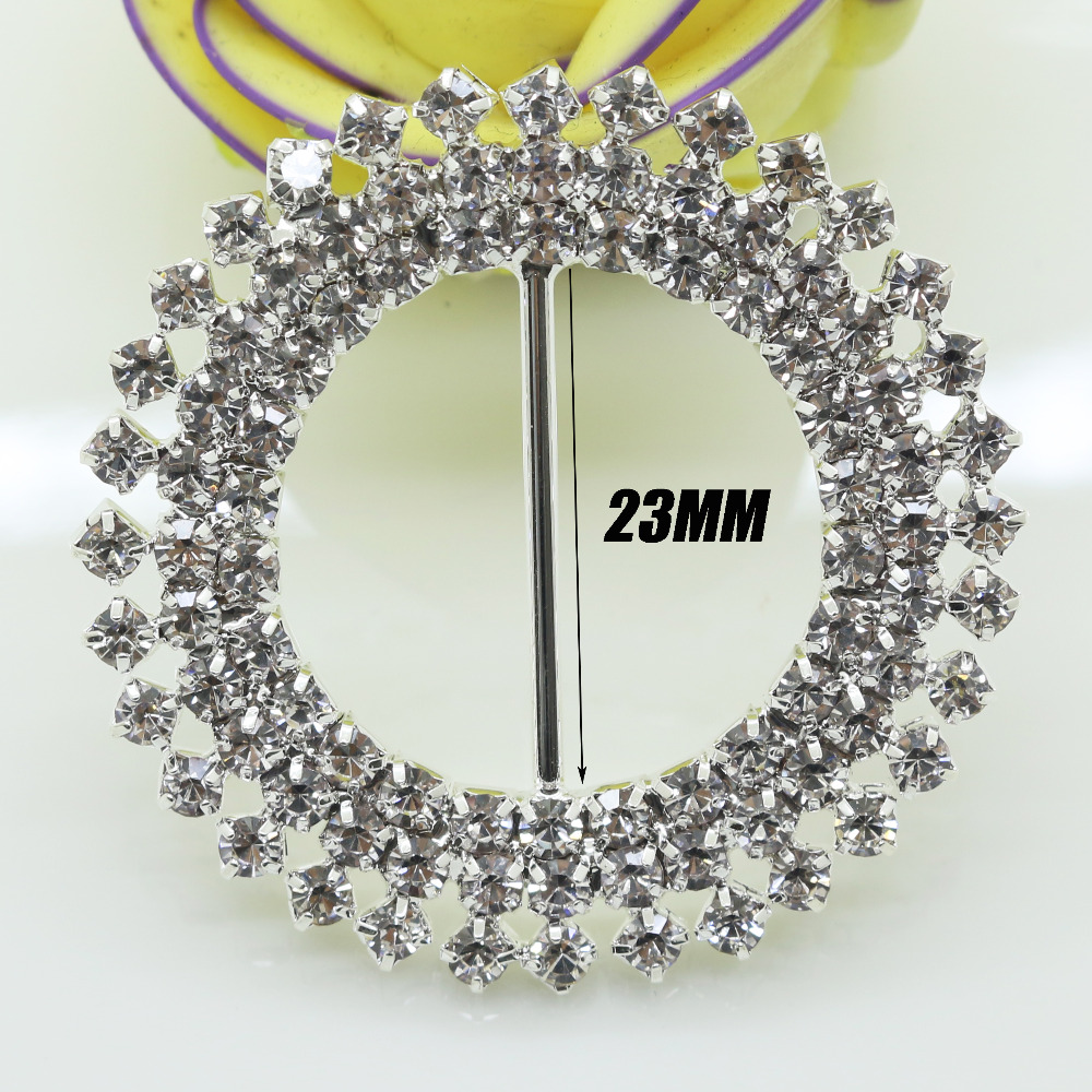 5pcs 42mm Clear Diamante Rhinestone Buckle Wedding Invitation Ribbon ...