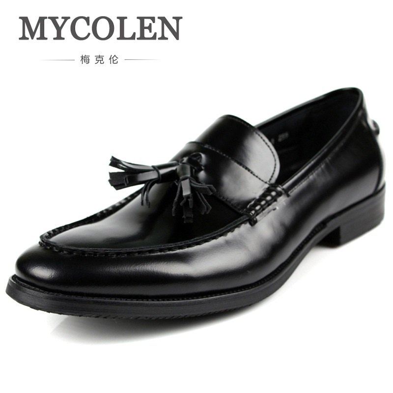 MYCOLEN New Fashion Mens Genuine Leather Cow Pointed Toe Slip On Patent Leather Formal Shoes Dress Shoes Male Tassel Low Heel gadeeraroo new fashion lace up pointed toe medium genuine patent leather business formal casual oxfords shoes for man