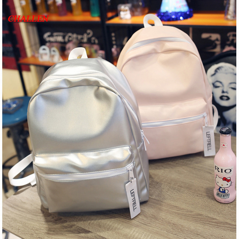 new Korean Girl PU backpack student schoolbag girlfriends backpack solid color simple shoulder bag sac femme TT