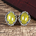 925 Silver Earring Women Natural Chalcedony Yellow Stone S925 Thai Silver boucle d'oreille Stud Earrings