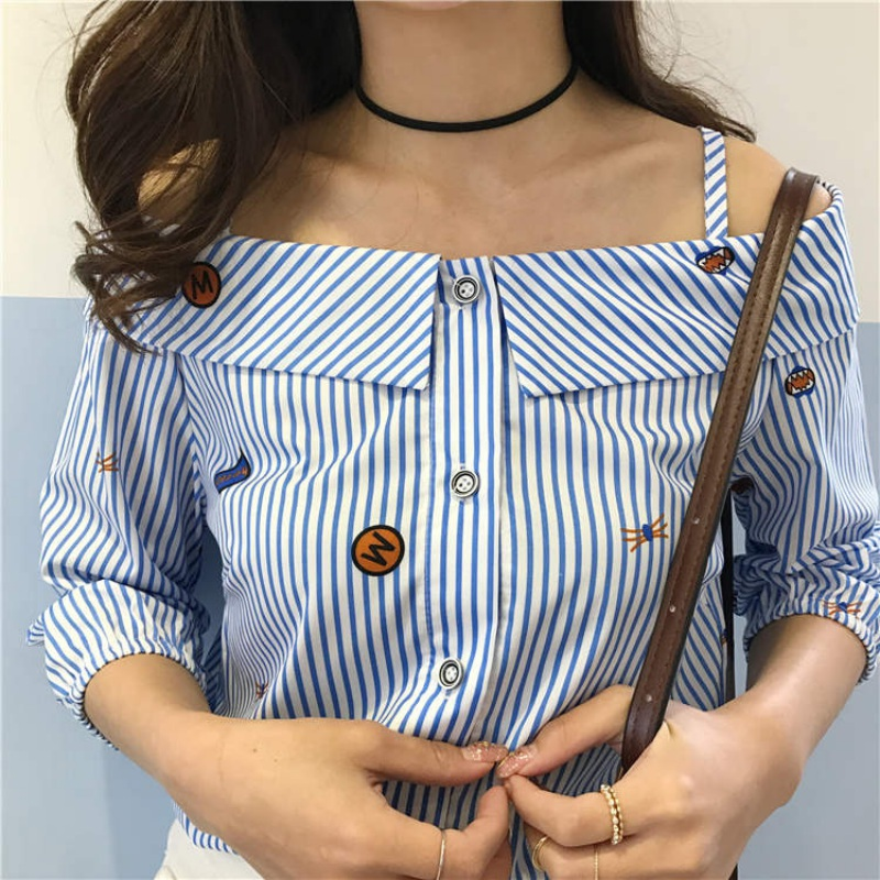 Fashion Shirts Clotheds Blouse Word Spread Long-sleeved Shirt Striped Printed Embroidered Off Shoulder Slash Neck Blouse