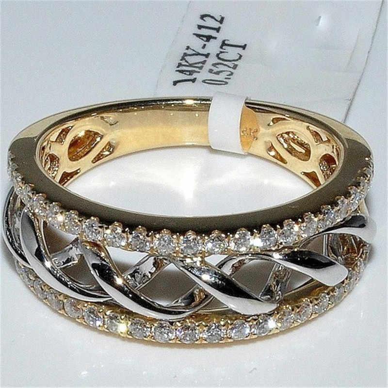 FFLACEL Hollow Two-tone สีแหวนเงิน WAVE Cubic Zircon แหวนแฟชั่นผู้หญิงยอดนิยม Rhinestone งานแต่งงานแหวนสำหรับผู้หญิง