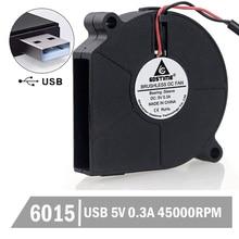 5PCS Mini DC 5V 60x15mm Black Brushless Cooling Blower Fan USB 6015S