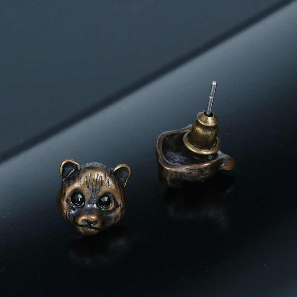 127e16ef4 ... QIAMNI Vintage 10Pairs Lovely 3d Fake Gauge Panda Teddy Bear Face  Animal Earrings Sweet Jewelry for