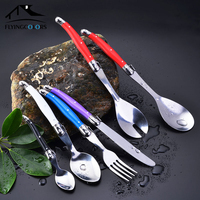 34Pc Stainless Steel Dinnerware Cutlery Set Dinner Knives Forks Salad Coffee Soup Sets Multicolor Handles in box kitchen Utensil