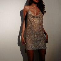Sexy club Dress Women 2019 New Diamond Halter Metal Party Dresses Gold Silver Summer Dress Sling Vesitos Backless Sequins Dress