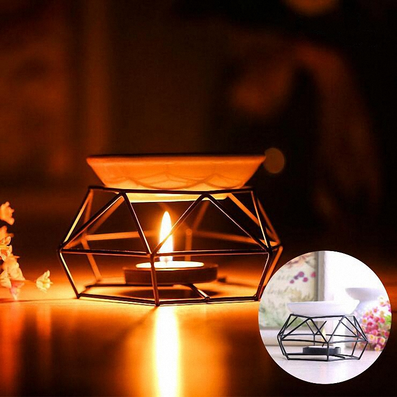 PINNY Lron Aromatherapy Aroma Burner Glass Aroma Oil Lamp Gifts And Crafts Home Decorations Essential Oil Burner