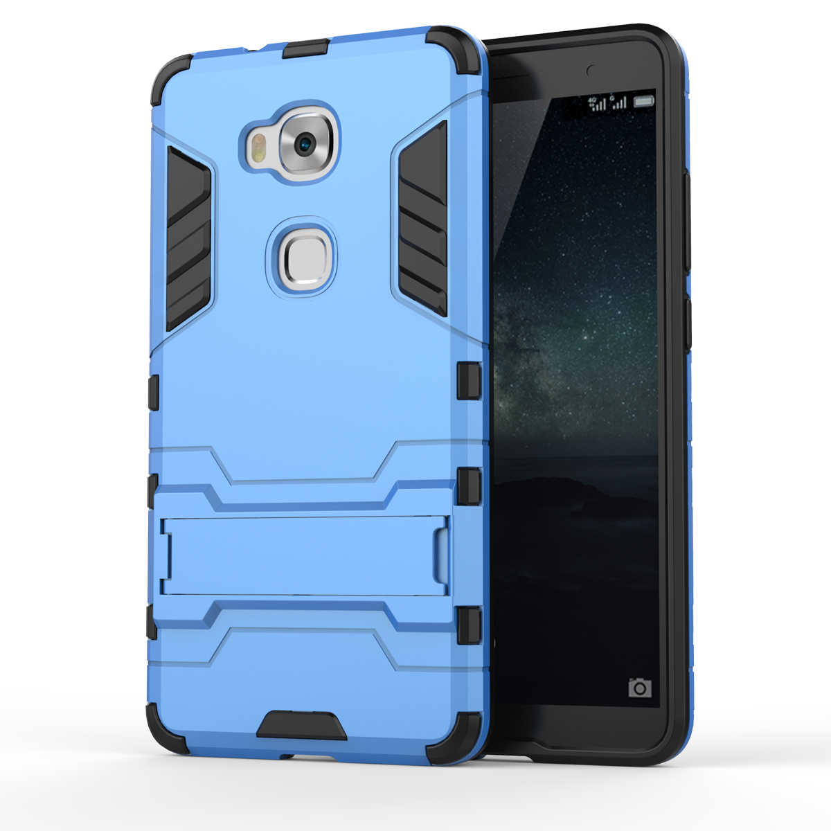 Armatura Per Il Caso di Huawei Honor 5X Heavy Duty Hybrid Caso Della Copertura Del Telefono Dura Molle Robusta Gomma di Silicone Coque con il Basamento funzione (<