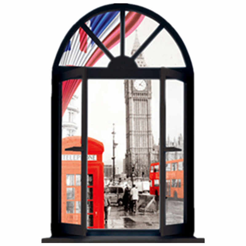 London street view mural Clock Tower Telephone Booth fake 3d window wall stickers home decor occident style vinyl poster 50*70cm