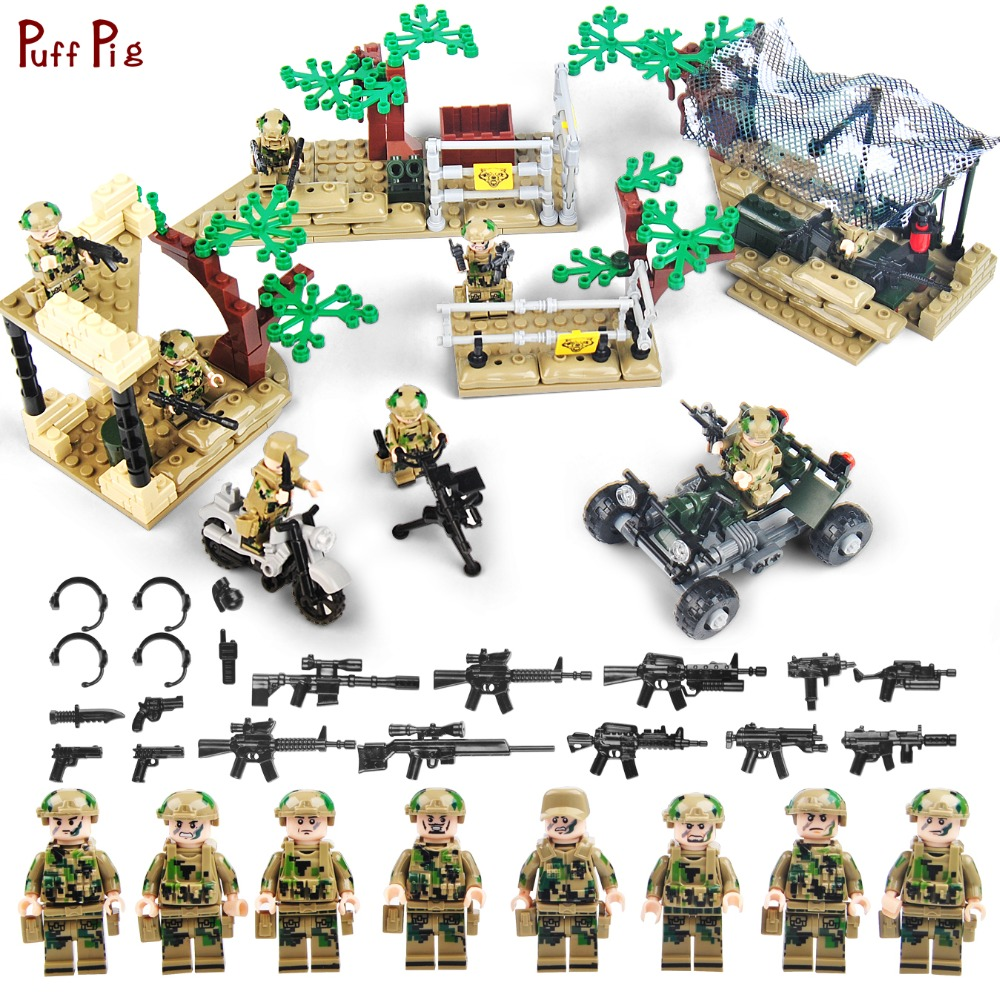 Military Army World War Soldiers Figures With Weapons Building Blocks Compatible Legoed WW2 Weapon Bricks Toys For Children Gift