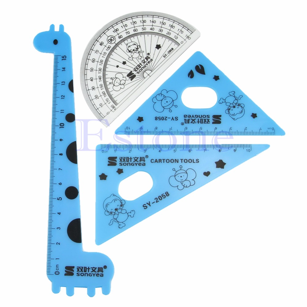 Elegant 1 Set New Cute Cartoon Giraffe Animal Students' Ruler Meter Ruler TriangleRuler