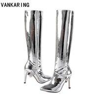 На осень зиму металлической из лакированной кожи до колена высокие сапоги пикантные Обувь на высоком каблуке платье Танцы женская обувь зо