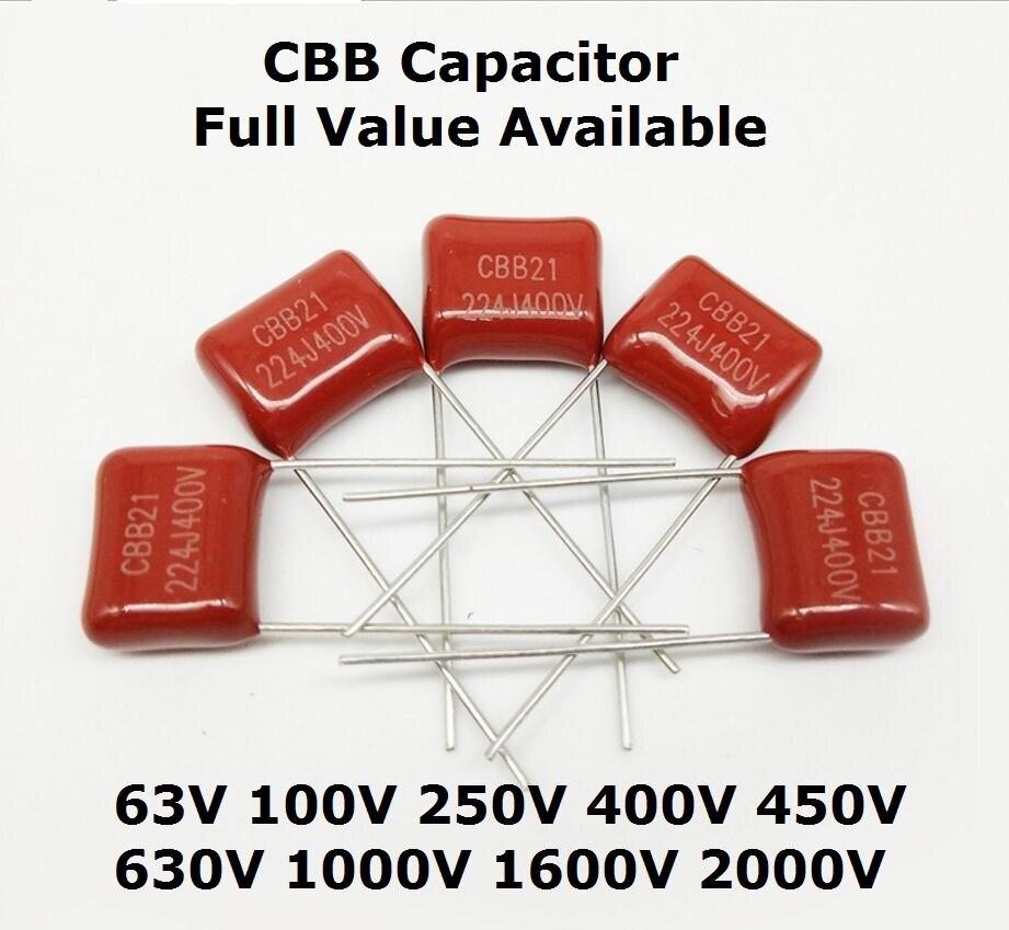 Pcs 1000V 224 104 102 222 472 1KV 10 220NF 100NF 2.2NF 4.7NF CBB capacitor 0.1UF 0.22UF 0.001UF 1NF 1000PF 102J 472J 104J 224J