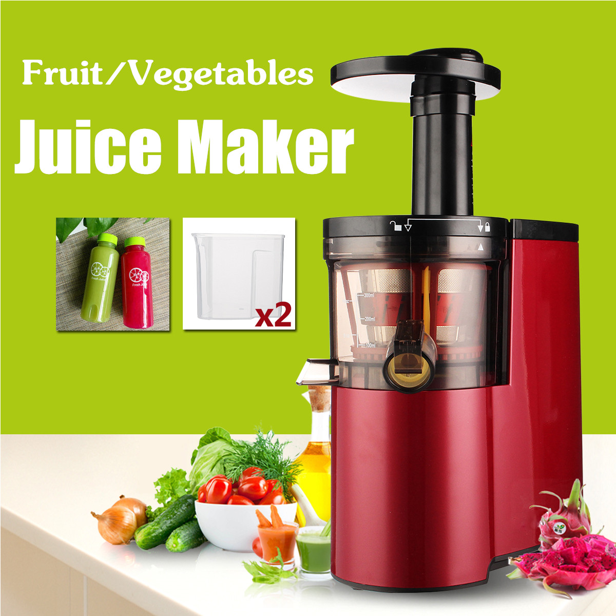 220V Electric Slow Juicer Fruits Vegetables Low Speed Juice Maker Extractor 150W Self-cleaning Ultra-quiet Red Squeezing цена 2017