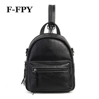 New Arrival Women Small Black Backpacks High Quality Genuine Leather Female Travel Bags Double Zipper Teenager Girls School Bags