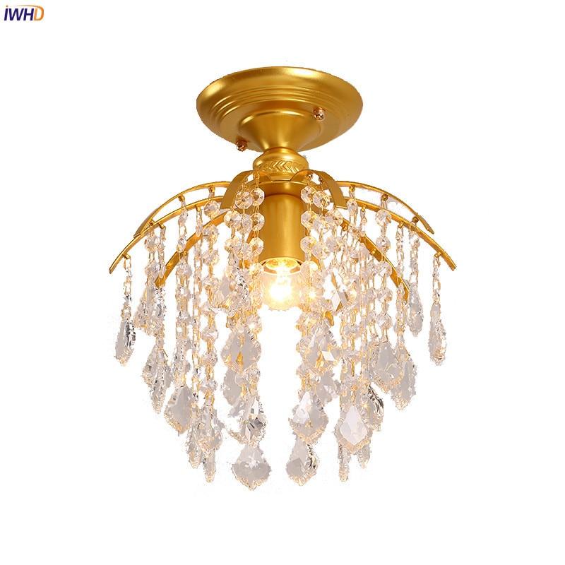 IWHD Amercian Crystal Ceiling Lamp Blacony Bedroom Living Room Light Cristal LED Ceiling Lights Plafonnier Home Lighting Plafon цена