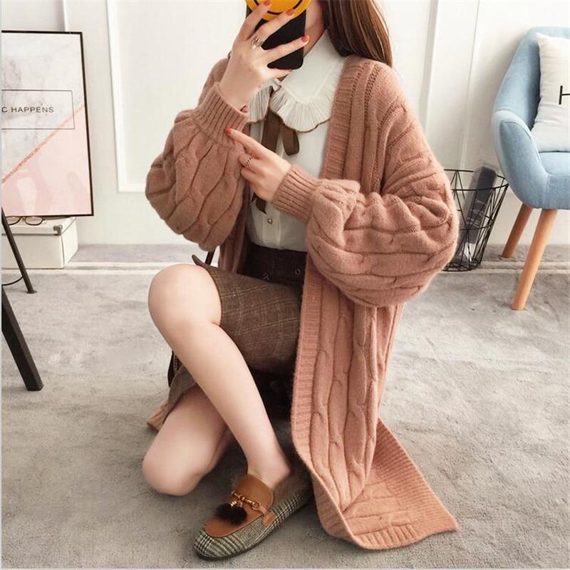 En Manteau Taille Cardigans Torsion Femmes Chauve rose Printemps Pull Manches Tricot Long Libre Chaud Beige Automne brown Solide 2018 Robe Cardigan souris ITzPqOwO