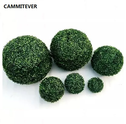 CAMMITEVER Erba Bonsai Topiaria Artificiale 12/18/23/28 / 35cm Verde Simulazione Sfera Negozio Centro Commerciale Forniture Indoor Decorazione Esterna