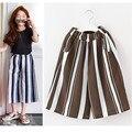 От 3 до 14 лет детей и подростков девушки 2017 лето вертикальная полосатый широкую ногу штаны детей мода полиэстер брюки одежда