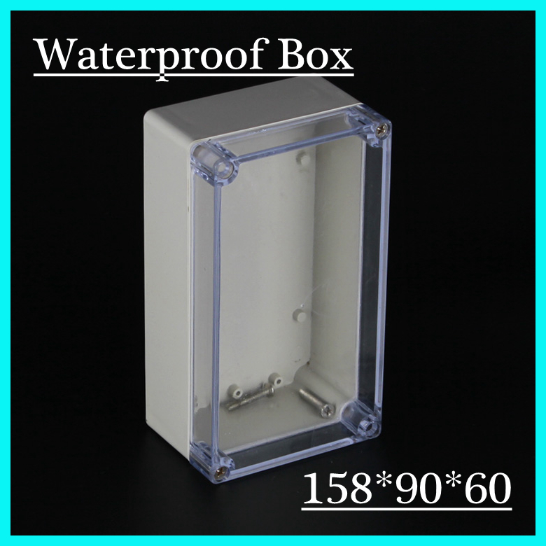 New 1 piece IP65 waterproof plastic enclosure/box for electronic/for PCB with transparent F2T 158*90*60mm