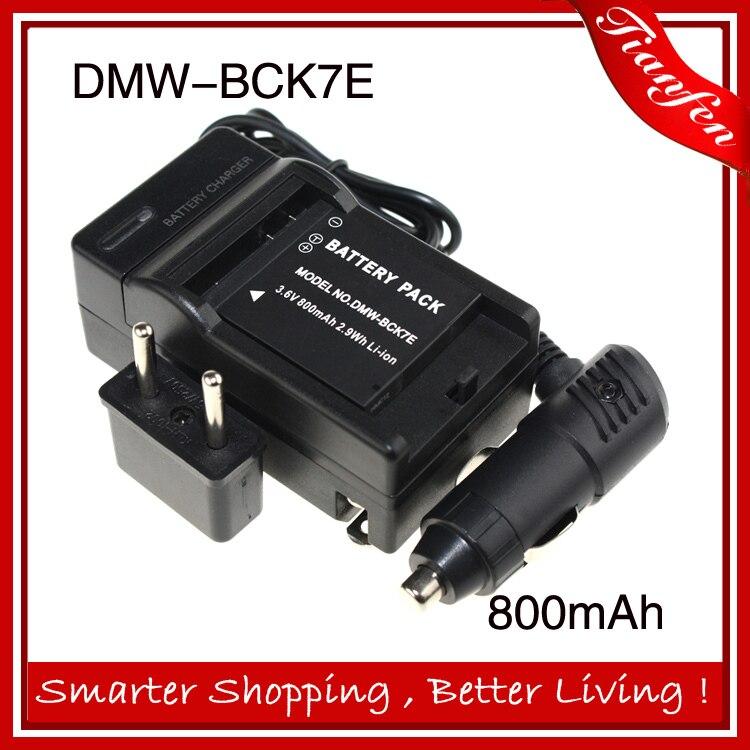3.6 v 800 mAh DMW-BCK7E DMW BCK7E DMWBCK7E Batterie + chargeur de voiture + chargeur de batterie Pour Panasonic FS35 FH27 7E PC S3 FX90 FH7 DMC-FH25