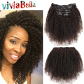 Afro Kinky Curly Clip In Human Hair Extensions Natural Color Full Head Kinky Curly Clip In Hair Extensions 7pcs/set Human Hair