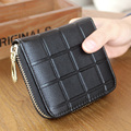 Top Quality PU Leather Female Zipper Credit Card ID Holders Purse Fashion Classic Plaid Design Square Pocket Bag Pouch For Woman