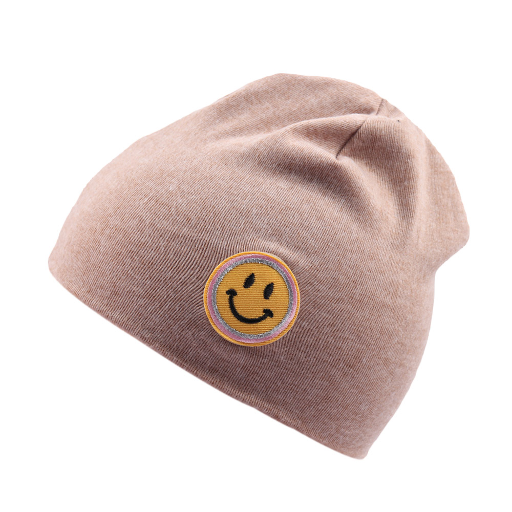 Solid Knitted Cotton Caps For Girls Kid Emoji Print Hat   Skullies   Boys Spring Autumn Outdoor Warm Cap   Beanies