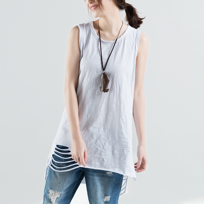 Spring Summer White Tank Tops Women Sleeveless O Neck Holes Loose Casual Fitness T Shirt Ladies Vest Woman Clothes