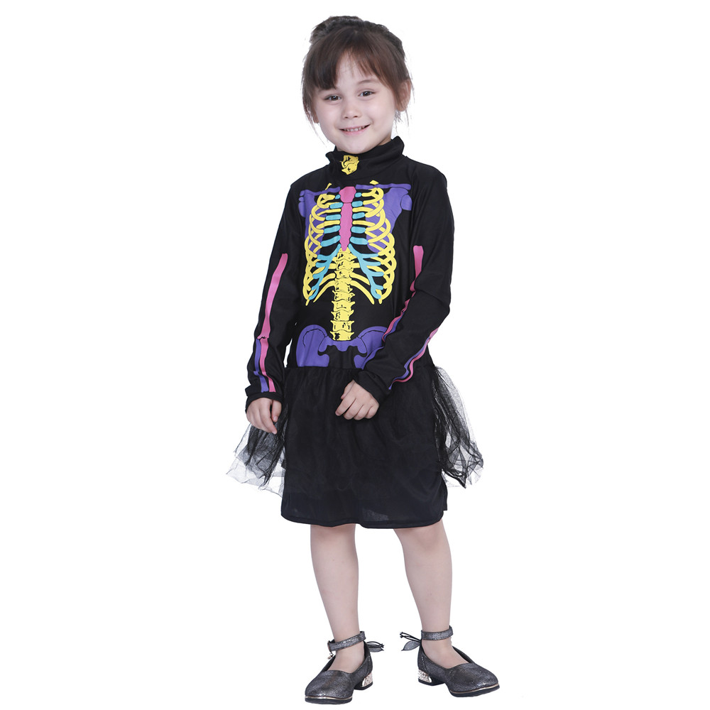 Halloween Carnival Christmas Cosplay Wizard Devil Vampire Color Skeleton Print Dress Black Kids Kids costumes