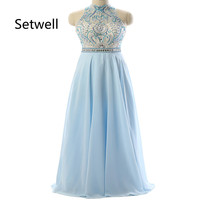 Setwell Luxury Beading Sequin Evening Dresses 2017 High Neck Backless Prom Gowns Summer Chiffon Evening Dress Custom Made Dress