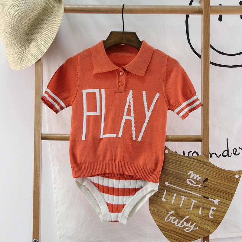 ФОТО Hot Sales Summer Baby Knitting Tops+Shorts 2pieces Set 100% Cotton Children Clothings 6m-3y Toddlers Pullower Tops+Shorts Suits